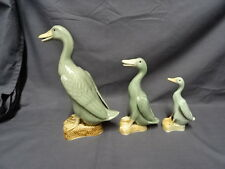 Graduated Set Of 3 Chinese Porcelain Green Celadon Duck Figures