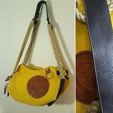 Vivienne Westwood Yellow Leather Canvas Nautical Rope Strap Handbag Bag Purse