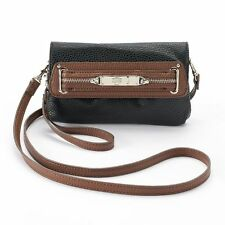 Women s Chaps Purse Black With Brown Accents Ladies Wrislet Hand Bag Style  Tote fd3330e6eb83f