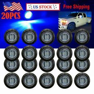 "20X 3/4"" Round Blue LED Side Marker Clearance Bullet Lights for Truck Trailer"