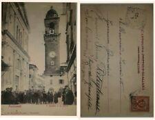 Pontremoli  Piazza Duomo e la Torre molto animata viagg. nel 1905 vedi...