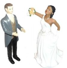 WEDDING CAKE TOPPERS DECORATION BRIDE GROOM BLACK WHITE MIXED RACE PAIR AFRO SET