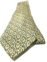 GEOFFREY BEENE Necktie Tie 100% Silk Green, Brown, Blue, White Abstract