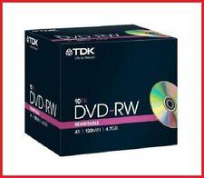 TDK DVD-RW 4.7 GB 4x Velocità 120MIN Rewritable DVD DISC JEWEL CASE CONFEZIONE DA 10 (T18891)