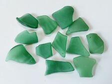 "1"" Textured Sea Glass Bead Green DRILLED Curved Freeform Flat Jewelry Dec GREEN"