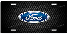 FORD LOGO CARBON FIBER ILLUSION ALUMINUM LICENSE PLATE, Made in USA