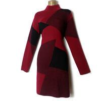 FENN WRIGHT MANSON Jumper Dress Size 14 L Knitted Red Black Long Sleeves Shift