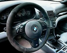 E46 BMW M3 Black Alcantara Suede Steering Wheel Cover  ///M Tri Color Stitching