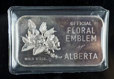 WESTERN MINT Johnson Matthey ALBERTA FLORAL WILD ROSE 1 OZ .999 SILVER ART BAR