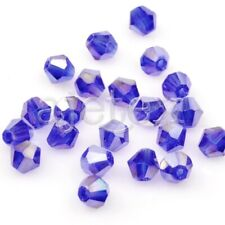 120pcs 4mm 5301 Blue Bicone Loose Faceted Crystal Beads Crafts EBCR0215