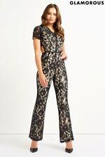 Glamorous V neck Hourglass Jumpsuit Black Size UK 12 RRP £55 Box46 82 A