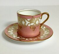 Vintage Aynsley Demitasse Tea Cup and Saucer Set in Pink, White and Gold Small
