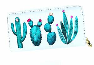 White Cactus Print Wallet
