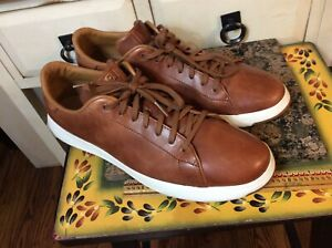 Cole Haan Sz 11.5 Grand.Os Crosscourt II Tennis Shoes Brown Leather
