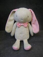 peluche doudou lapin beige rose blanc carreau 22 cm klorane état neuf