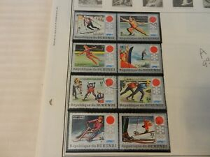 Lot of 8 Burundi 1972 Sapporo 1972 Winter Olympic Stamps