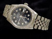 Rolex Datejust Mens Stainless Steel w/ Blue Anniversary Diamond Dial & 1ct Bezel