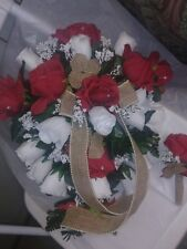 Cascade wedding bouquet Red White and Burlap Sale! Rush Orders Avail