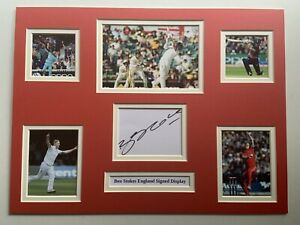 """England Cricket Ben Stokes Signed 16"""" X 12"""" Double Mounted Display"""