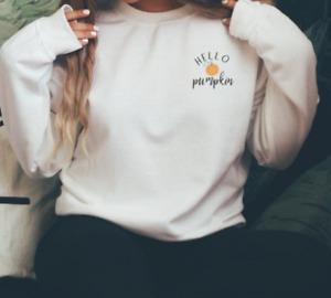 HELLOW PUMPKIN Halloween Sweatshirts Halloween Costume  Gift for Her