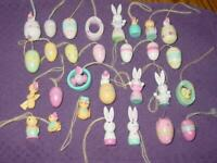 VINTAGE (29) EASTER Wood Hand Painted Ornaments - Bunny, Eggs ++ - Feather Tree
