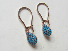 Silver Turquoise Drop Handmade Earrings Rose Gold Plated 925K Sterling