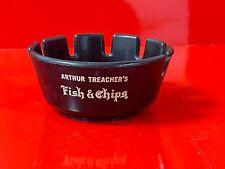 Arthur Treacher's Fish & Chips Plastic Black Ashtray Tablecraft Products 1970s