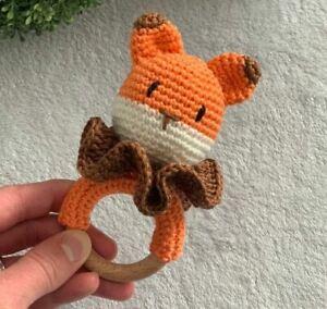Handmade fox rattle made of cotton and ring wood amigurumi