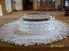 Crystal English Vintage Silver Rimmed Button and Cane Large Serving Salad Bowl