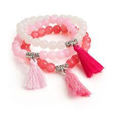 Tres piezas de juego de pulsera de tono de color rosa para Damas Elástico Fashion Jewellery