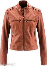 Lederimitatjacke Biker-Jacke Gr 42 cognac NEU Damenjacke Jacke