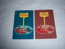 (2) single FLEET WING GASOLINE playing cards - vintage 1950's - SPACE AGE cars