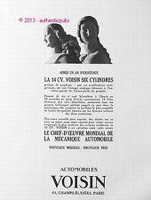 PUBLICITE AUTOMOBILES VOISIN LA 14 CV SIX CYLINDRES DE 1927 FRENCH AD CAR PUB