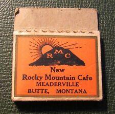 Matchbook - Rocky Mountain Cafe Meaderville Butte MT DIAMOND PULLQUICK