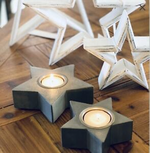 Set of 2 Wooden Grey Star Tea Light Holders One Large & One Small Home Decor