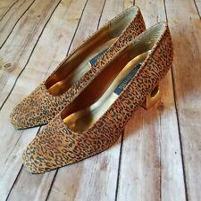 Coupe d etat Vtg 90s Size 7.5 Leopard Leather Pump Gold Cut Out Heel Women Rare