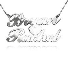 Personalized Sterling Silver 2 Names Heart Necklace (USA Seller)