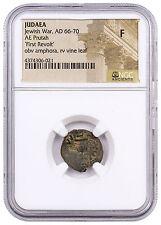 Judaea Bronze Prutah First Jewish-Roman War First Revolt Amphora NGC F SKU44572