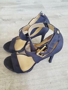 Women's Michael Kors Strappy Open Toe Suede Leather Heels Shoes Sz 7.5