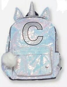 Justice UNICORN Initial C White Flip Sequin Backpack New with Tags
