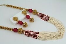 Magenta Pearl Bollywood Wedding Indian Jewelry Long Necklace Set Earring Dangle