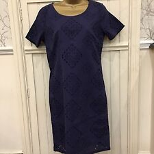 New PER UNA M & S Ladies Cotton Indigo Blue Broderie Anglais Cotton  Dress 8-22