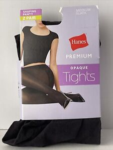 Hanes Premium Opaque Tights Shaping Panty Pantyhose Size Medium Black 2 Pairs