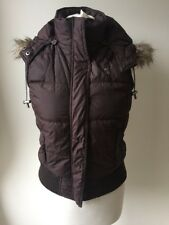 Abercrombie & Fitch Brown Feather Down Puffer Waist Jacket Gilet Size S 10