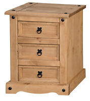 Corona 3 Drawer Bedside Cabinet Chest Mexican Solid Pine by Mercers Furniture