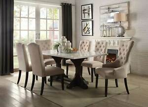 NEW 7 piece Dining Room Rectangular Marble Top Table & Fabric Chairs Set ICA6