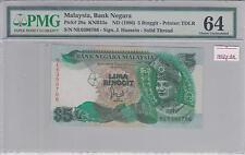 Malaysia 6th Series RM5 1st prefix NE PMG64 Choice UNC