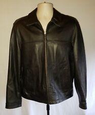 NWOT - Eddie Bauer Leather Bomber Jacket - Black Pebbled - MEDIUM