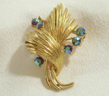 LISNER BLUE Aurora Borealis Rhinestones Brooch Pin Gold Plated Vintage AB RS