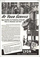 1943 WW@ AD LYON Metal Products Steel Aluminum Aircraft Parts Aurora IL  060919